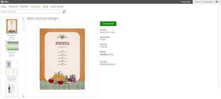 Free Autumn-themed Printables or Templates for Microsoft Office: Free Harvest Menu Template or Printable for Microsoft Word