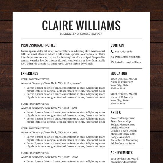 instant download resume template cv template for ms word the claire - Free Resume Templates In Word