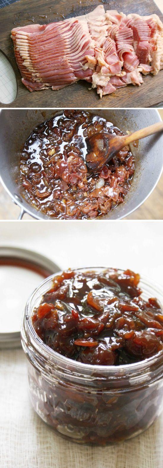 Speck Jam 1 £ Speck, 1 kleine Zwiebel,gehackt 4-5 Knoblauch gehackt 1/2 Tasse brauner Zucker 1/2 Tasse Kaffee (heiß oder kalt) 1/4 Tasse Ahornsirup 1 Essl. Balsamico-(optional) 1 Essl. körniger Senf (optional) Speck grob hacken und anbraten, herausnehmen, Bratfett abgießen. Die Zwiebel und Knoblauch in den Rest für 5 Minuten geben.Jetzt Speck hinzufügen, auch braunen Zucker, Kaffee, Ahornsirup, Essig und Senf und bei mittlerer Hitze kochen bis eine Feste Konsistenz entsteht.