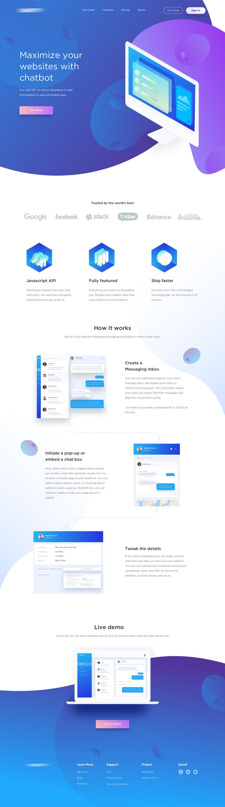 Landing page www.vwire.blogspot.in #uxui #appdesign #chatbots