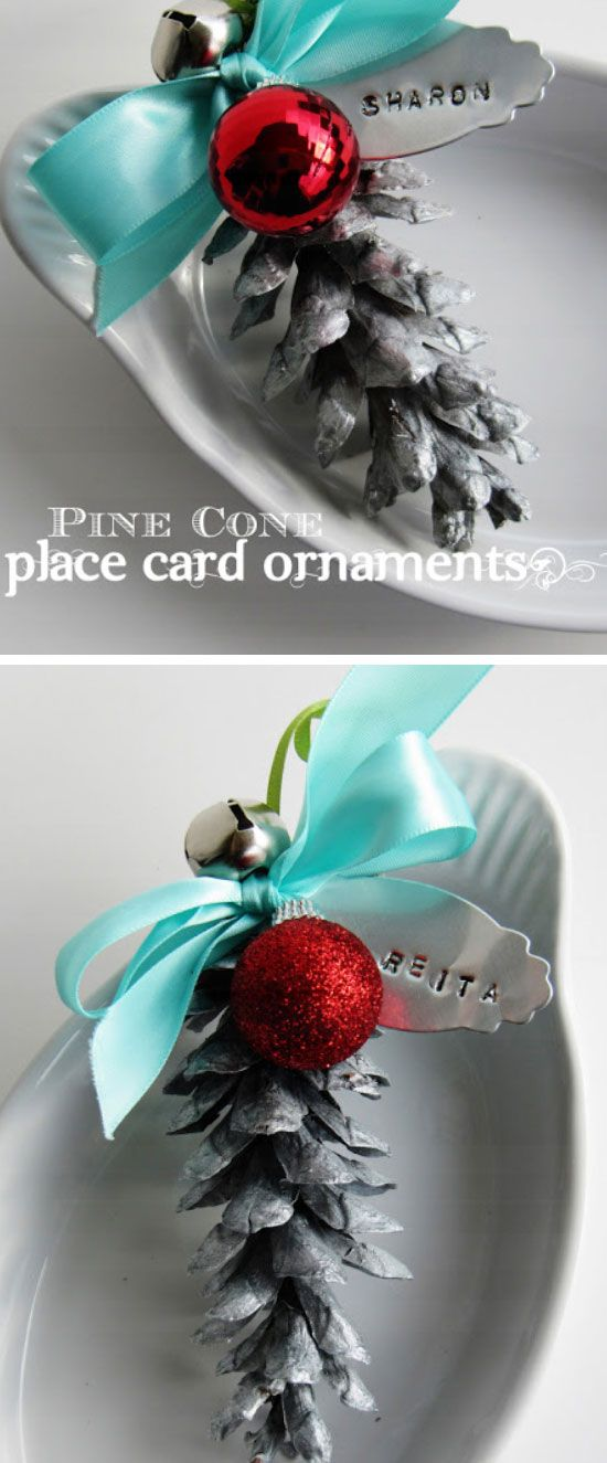 Silver Pine Cone Place Cards | Click Pic for 18 DIY Christmas Table Centerpiece Ideas | DIY Christmas Table Decoration Ideas