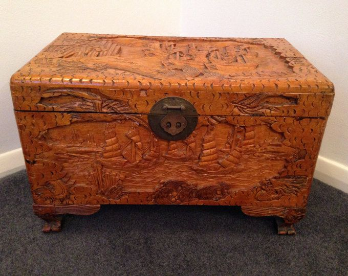 Lovely large carved wooden Asian Storage box with hinged lid. Wonderful detail in the ornate carvings. Measurements: 59cm x 34cm x 30cm.