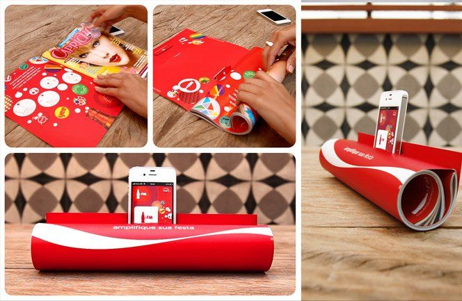 Os criativos Andrea Pissarro, Rodrigo AdameLeandro Pinheiro da JWT criaram um anúncio de revista inovador paradivulgar a Coca-Cola FM.É só enrolar a revista e encaixar o iPhone no espaço indicado para transformar o anúncio em um amplificador de som para iPhone.