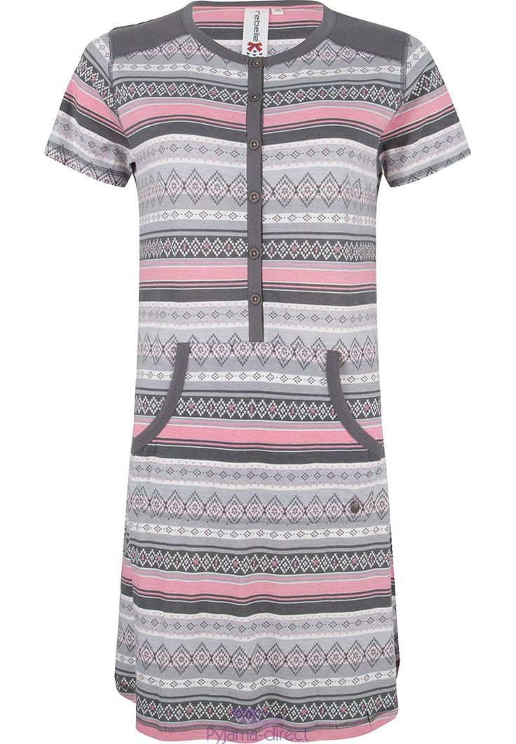 "This cute & comfy ""striped trendy pattern"" short sleeve slategrey & pink nightdress has a handy kangeroo pocket"