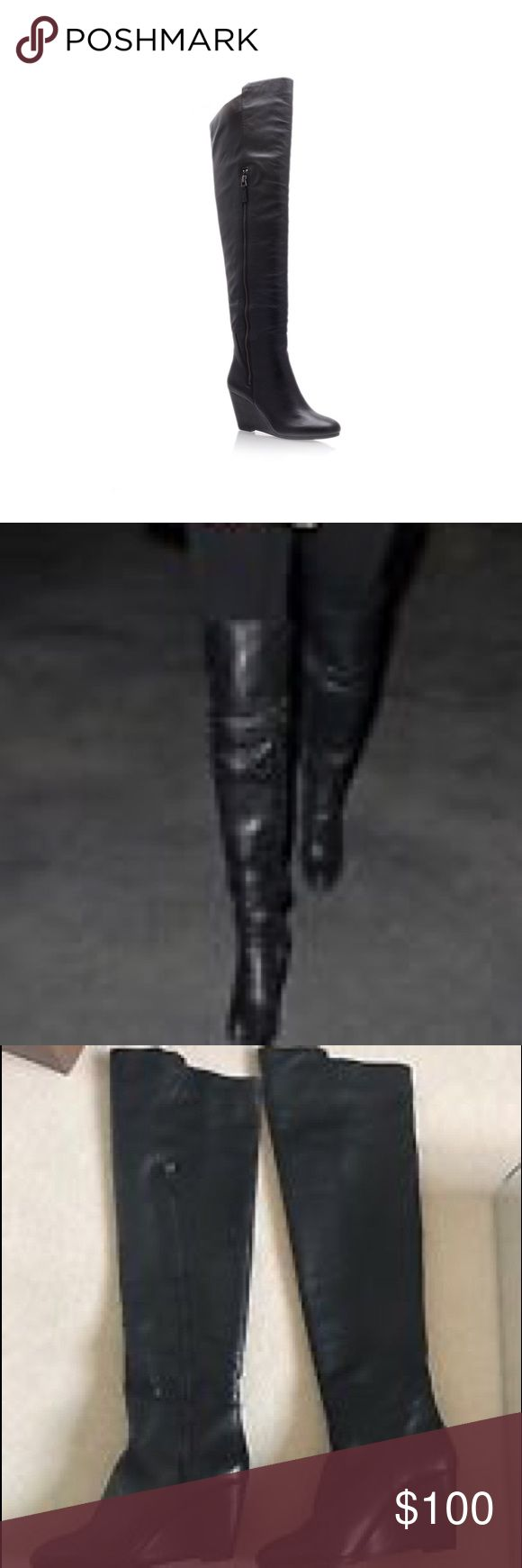 Kurt Geiger leather wedge over the knee boots These are amazing! Pics don't do them justice. They are beautiful buttery soft leather, nice rounded toe, small wedge, and they go up over the knee. I wish these were bigger but I can't fit into them after having a baby 😩. My loss is your gain on these. They are fab!!!! Sz. 8 kurt geiger Shoes Over the Knee Boots