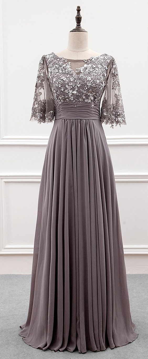 Gray short sleeve mother of groom dresses for the wedding are available.  Custom evening gowns as well as #replicas of couture designs are also an option.  We can work from any photo you have.  Get pricing on custom #eveningdresses & replicas when you email us directly.
