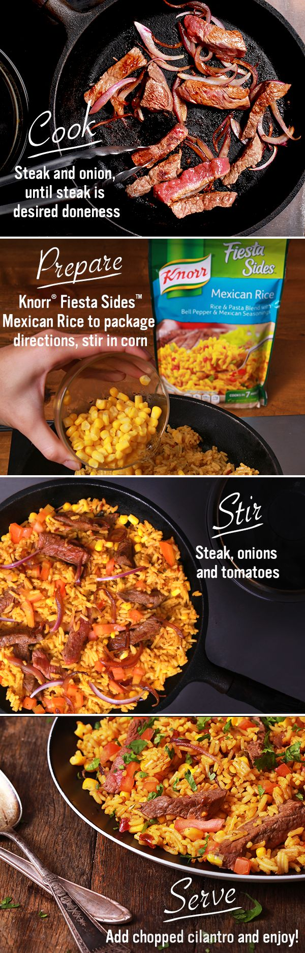 Knorr Mexican Steak Salsa & Rice is bursting with carne asada flavor! With only 6 ingredients, this one-skillet recipe is quick & easy to make. Just melt spread over medium-high heat. Then, cook steak and onion until steak is at its desired doneness. Remove & set aside. Prepare Knorr® Fiesta Sides™ - Mexican Rice in same skillet according to package directions, stirring in corn during the last 5 minutes of cook time. Then, stir in steak, onions and tomato. Garnish with chopped fresh…