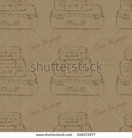 Vintage suitcases. Sketch illustration in vector. Texture for packaging, wallpaper or web design.
