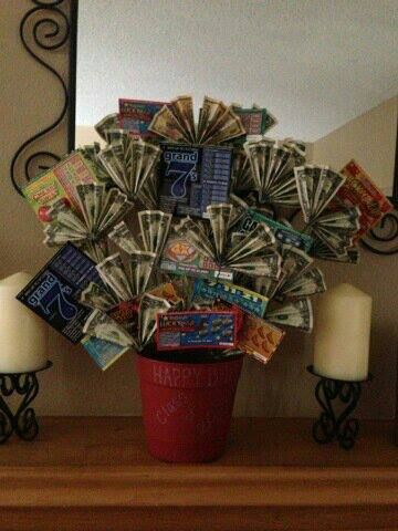 This except instead of scratchers and money, fill it with dark chocolate and money. Perfect 18th birthday present!