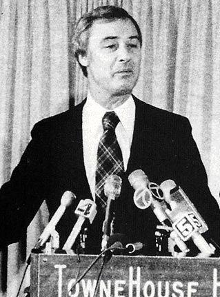"""1975- George Moscone, a liberal with a pro-gay voting record, is elected mayor of San Francisco by 3000 votes.  The margin is small enough that Moscone can credit San Francisco's prominent gay community with giving him the win.  The following year will see the first gay elected official, Harvey Milk, as a city supervisor.  At the same time, a backlash is brewing.  In 1977, Dan White will speak against """"social deviates"""" to get elected in his district, & five gay businesses will be bombed."""