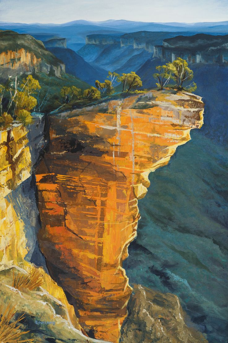 """This acrylic painting is called """"Hanging Rock"""". it is a beautiful place in the Blue Mountains, Australia. This is really one of my favourite places to visit. This painting is available for sale as an Original or Print. find it at www.escalanteart.com.au"""