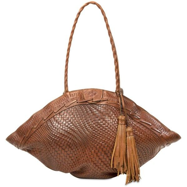 Patricia Nash Woven Trope Dome Extra-Large Shoulder Bag ($299) ❤ liked on Polyvore featuring bags, handbags, shoulder bags, tan, tan purse, patricia nash handbags, vintage purses, tan handbags and woven shoulder bag