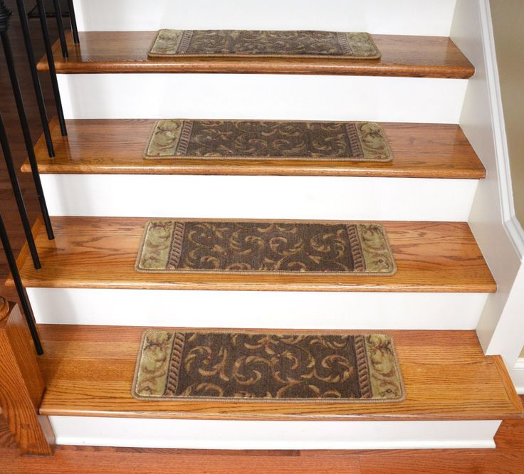 Dean Tape Free Pet Friendly Non-Slip Ultra Premium Stair Gripper Carpet Stair Treads - Khaki Scrollwork (15) - Dean Stair Treads