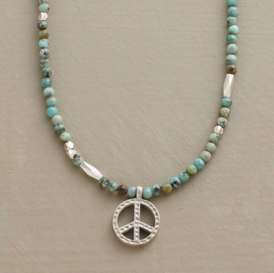 Sterling silver, turquoise, peace sign necklace