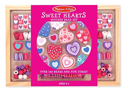 Melissa  Doug Sweet Hearts Wooden Bead Set With 120 Beads and 5 Cords for JewelryMaking ** Click on the image for additional details. Note:It is Affiliate Link to Amazon.