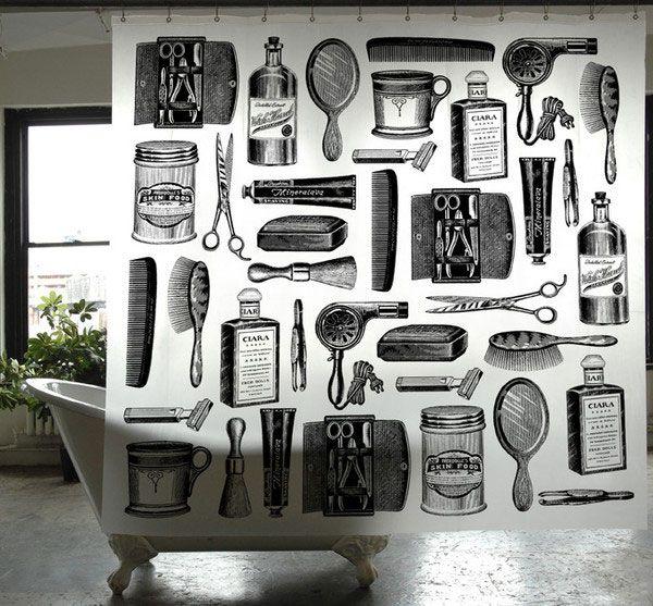Barber Shop shower curtain // gifts for guys // housewarming // bath