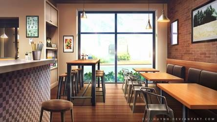 Coffee Shop By Vui Huynh Anime Background Anime Backgrounds Wallpapers Anime Scenery Wallpaper
