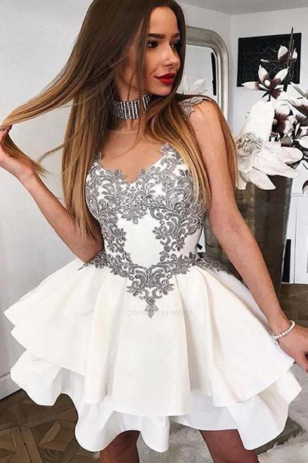 595050961fd44 Homecoming Dress Cheap, Lace Homecoming Dress, Appliques Homecoming Dress,  Lace White Prom Dress