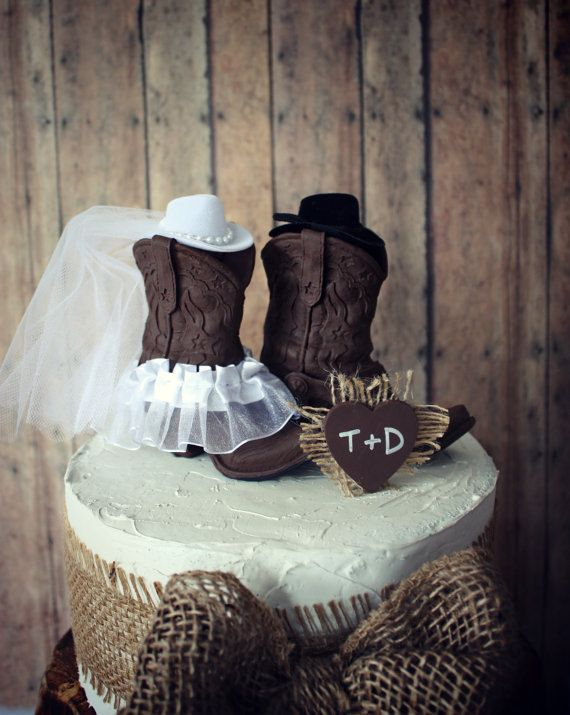 """Western Cowboy Boots Wedding Cake Topper-Western Themed Wedding-Cowboy Boots 4""""tall and 3.5"""" from heel to toe"""