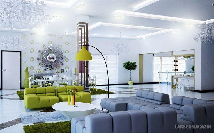 szürke zöld fehér - nappali szoba lakberendezési ötletek, látványtervek