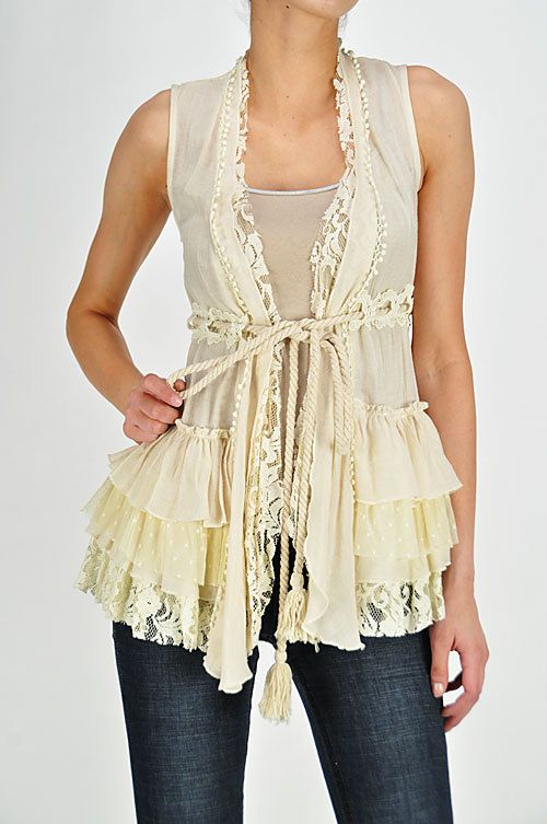 Ruffled Vest in love with lace and ruffles!