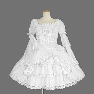 Long Sleeve Knee-length White Cotton Princess Lolita Dress – USD $ 69.99