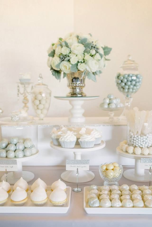White and Silver Wedding Dessert Table