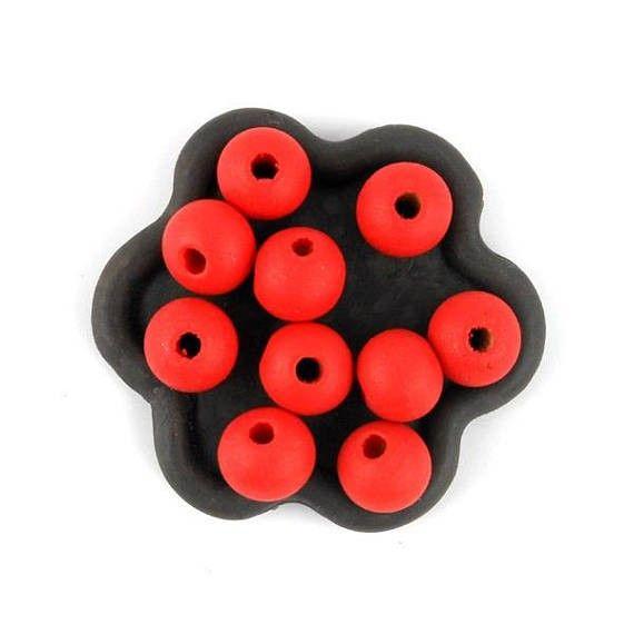 x50 Perle en bois rouge orange pastèque 10mm