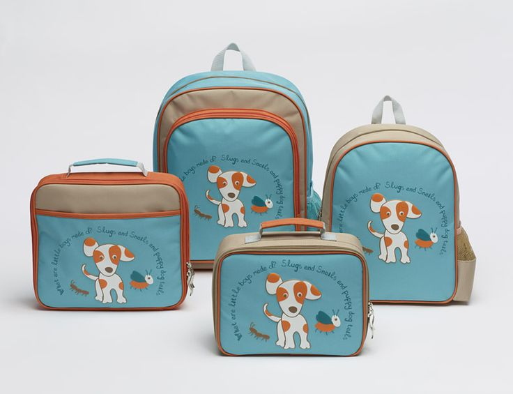"""'Oliver' Backpack Range includes, Large and small backpacks, lunchbox and i-pad bag. Cute puppy on the front and inscription reads:""""What are little boys made of? Slugs and snails and puppy dog tails"""" #backtoschool #boysbackpacks #kindergarten #puppy #boys"""