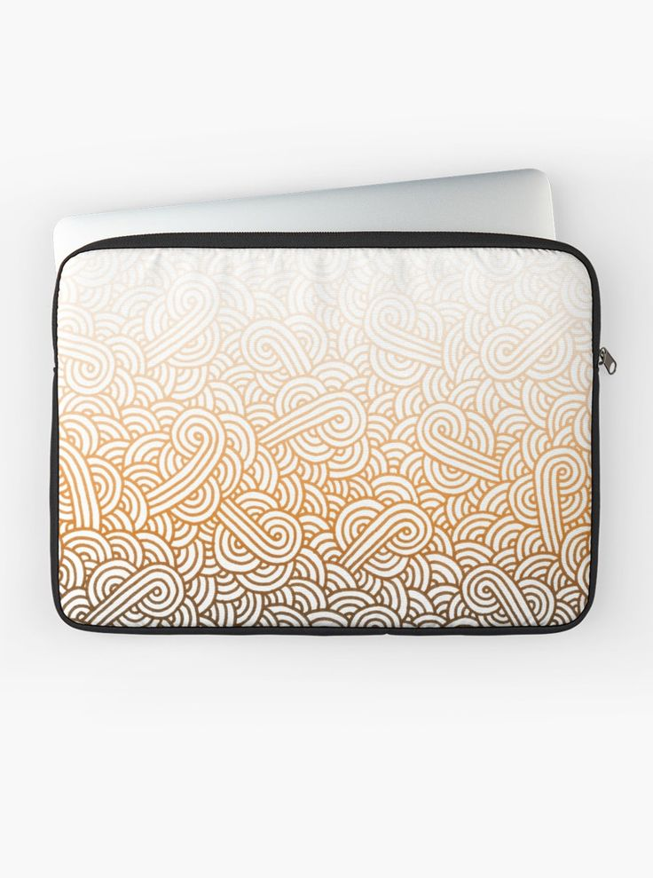 """""""Gradient orange and white swirls doodles"""" Laptop Sleeve by @savousepate on @redbubble #pattern #abstract #modern #graphic #geometric #orange #fallcolors #autumncolors #ombre #gradient #laptopsleeve"""