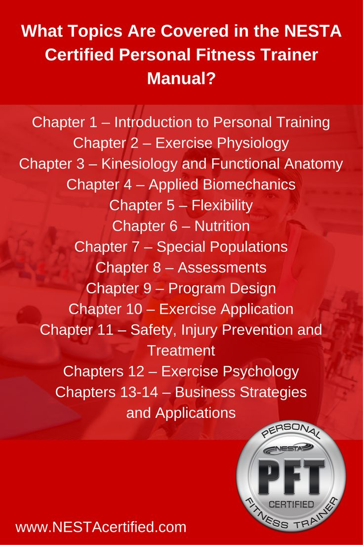The 25 best fitness trainer certification ideas on pinterest nesta personal fitness trainer certification coverage whgat topics are covered in the nesta cpft manual nesta pft is composed of 14 chapter interactive xflitez Image collections