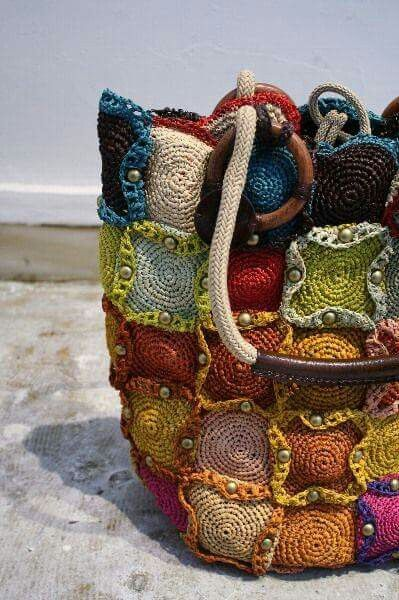 Colourful crochet bag.