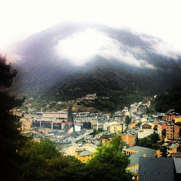Andorra La Vella -  minicountry wedged between France and Spain. Great skiing and tax free shopping.