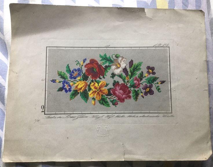 Антикварный берлин woolwork плечо роспись карта-цветочный (1) | eBay