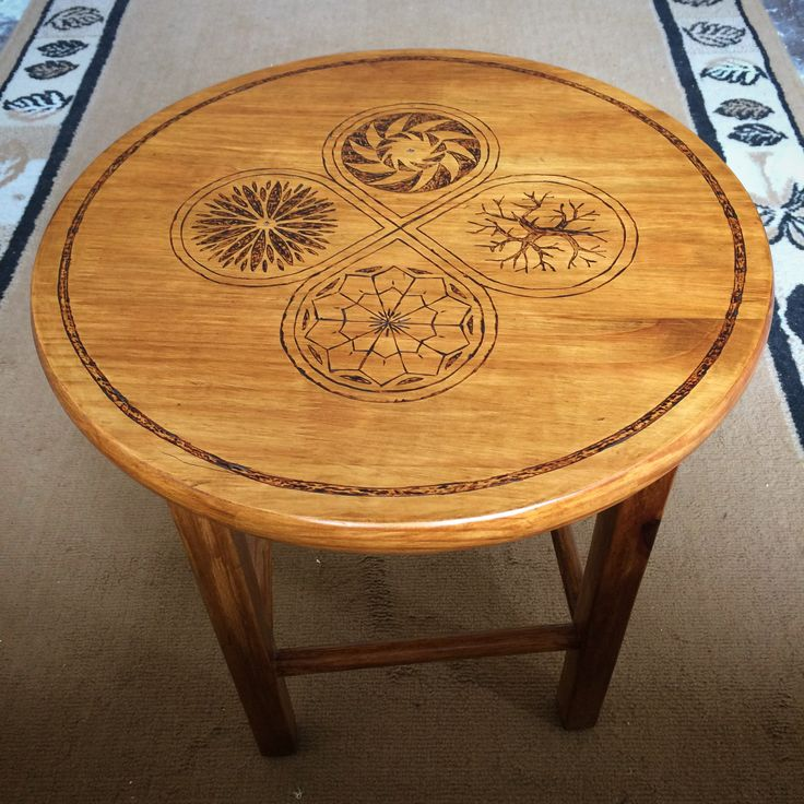 Four Seasons Wood Burn Pattern. Stain and wood burn pattern added to an old pine side table. (I didn't make the table...just added the pattern.)