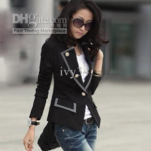 Wholesale Fashion Women Casual Suit Coat Black Grey Spring and autumn OL Coats for lady Jacket Clothing, Free shipping, $24.85-35.4/Piece | DHgate