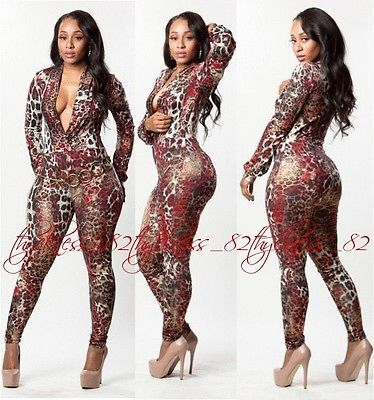 WOMENS SEXY MULTI COLOR RED BROWN METALLIC GOLD ANIMAL PRINT JUMPSUIT S M L XL