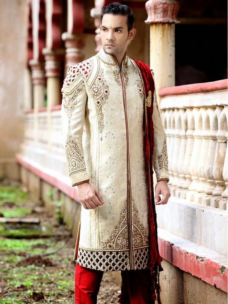 Emulate the latest trend and style by being Dress up in this Ethnic Sherwani on your special day Price- ₹ 40500 / £ 405