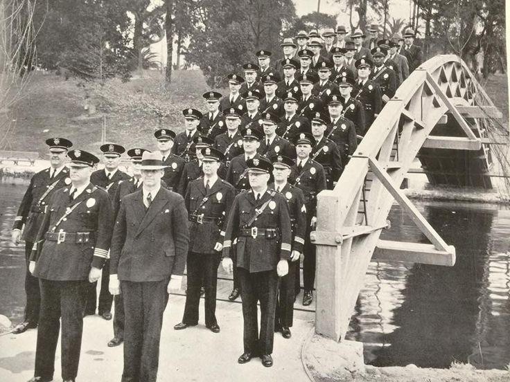 Los Angeles Police Department Old school  Hollenbeck Division at Hollenbeck Park bridge taken in 1936/37