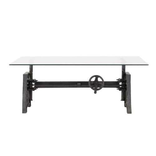Metalen en glazen industriële salontafel B 135 cm