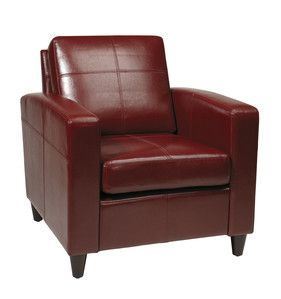 Office Star Venus Club Chair (Tool-Less Assembly) in Crimson Red Eco Leather VNS51A-CBD