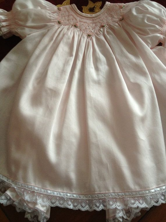 Smocked Pink bishop style dress, NB - . This item has been sold and is a custom order only. bloomers are sold seperate. This is soft pastel