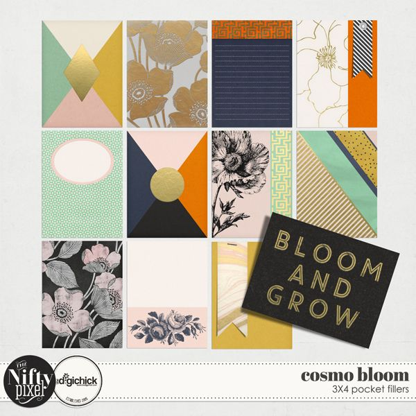 Cosmo Bloom Pocket Fillers by The Nifty Pixel This collection of 3X4 pocket fillers is perfect for your pocket scrapping needs or simply to add a pop of colour or a bold graphic elements into your scrapbooking projects.  PACK INCLUDES:  12X Pocket Fillers (3X4) All products are saved at 300ppi for optimum printing quality.