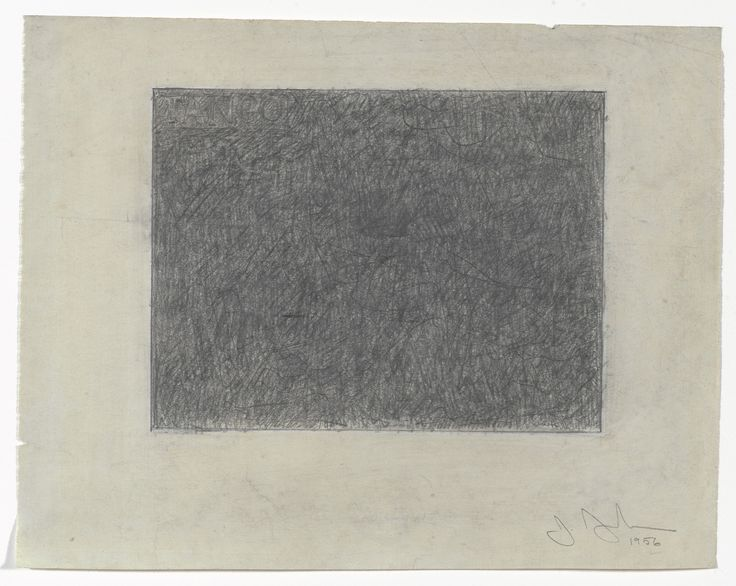 """Jasper Johns. Tango. 1956. Graphite and white pencil on paper. 8 3/4 x 11"""" (22.2 x 27.9 cm). Gift of Sarah-Ann and Werner H. Kramarsky. 767.2012. © 2017 Jasper Johns / Licensed by VAGA, New York. Drawings and Prints"""