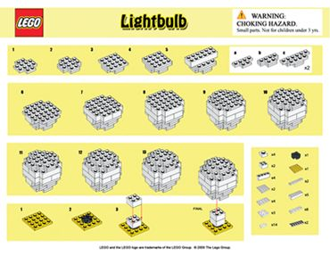 Instructions for building a LEGO lightbulb