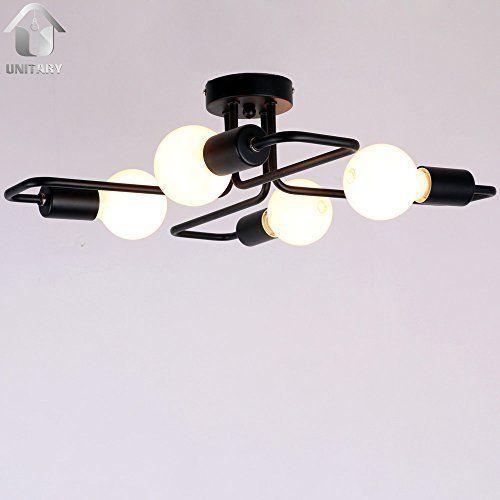 Unitary BRAND Plafonnier Rustique E27 4x40w Brun Peint: Amazon.fr: Luminaires et Eclairage