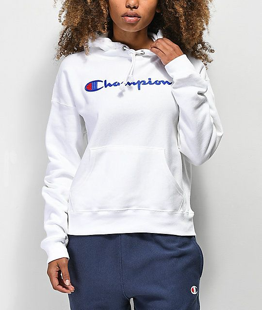 dc9103aa Champion Script Black Long Sleeve T-Shirt in 2019 | WANT | White ...