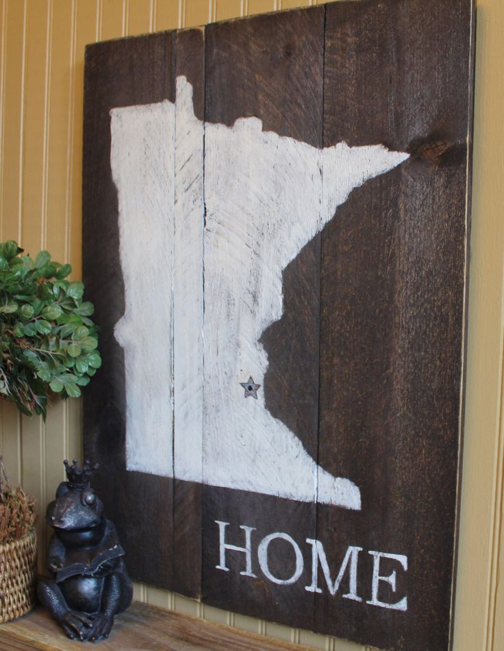 Customize With Your Own State Wooden Minnesota Silhouette Home Wall Decor Sign with Rusted Metal Star or Heart, Unique Gift Idea for Anyone by ThePaintedLetters on Etsy https://www.etsy.com/listing/258692696/customize-with-your-own-state-wooden