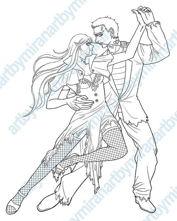 halloween digital stamp monster mash dancing monsters coloring page digi stamp coloring for adults instant download anime manga coloring