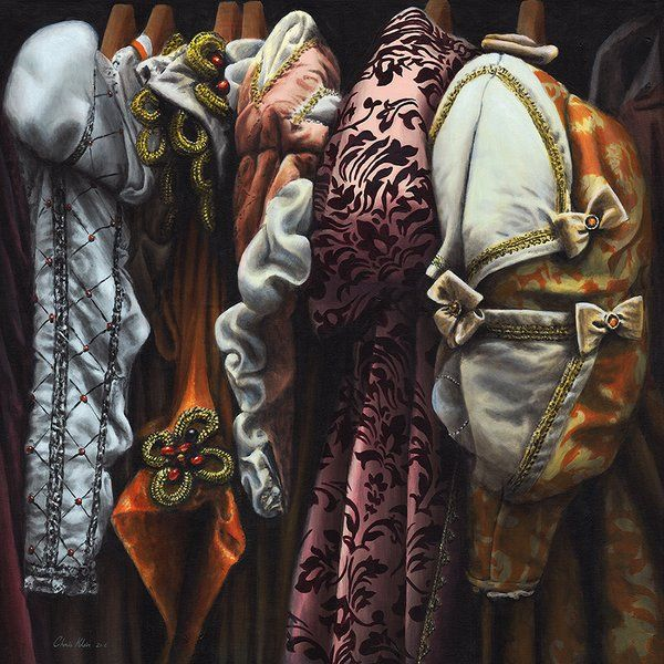 """Costumes from the Stratford warehouse No20, Acrylic on canvas, 34""""x34"""" unframed"""